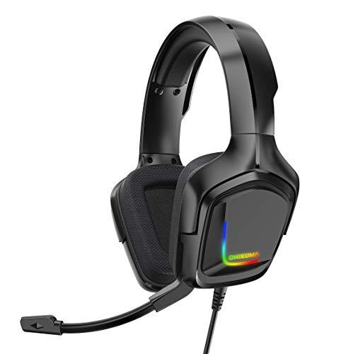 YDSZ Auriculares de cancelación de Ruido de 3.5 mm, Gamers Bass Surround Sonido Memoria Suave Orejeras PS Auriculares de Juegos de computadora Black