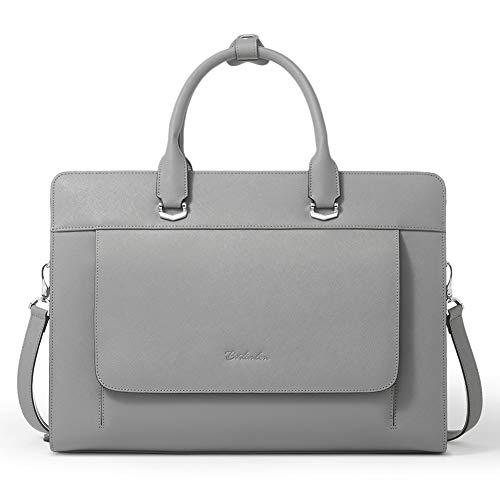 BOSTANTEN Damen Leder Laptoptasche 15.6 Zoll Aktentasche Frauen Businesstasche Schultertasche Henkeltasche Bürotasche Umhängetasche Grau