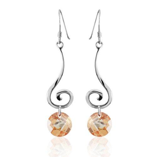 Orecchini Chic-Net orecchini 925 alpacca signore libere di zirconi arancio