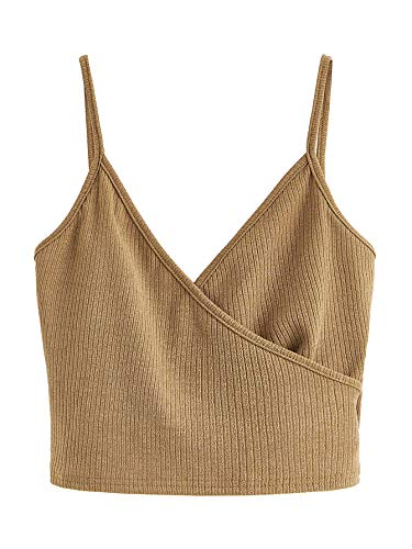 SheIn Women's Casual V Neck Ribbed Knit Overlap Front Crop Cami Top Brown X-Small