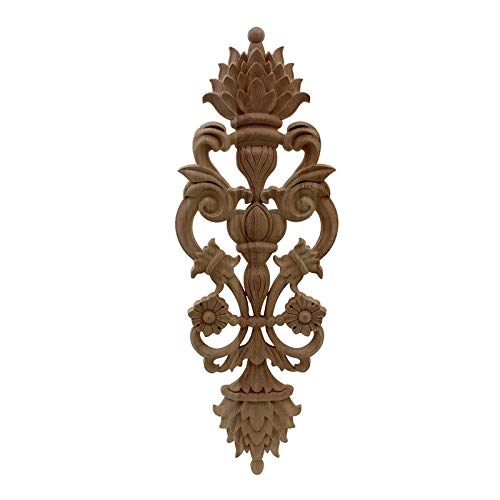 wkd-thvb Antiguo Apliques De Madera Decorativos Para Muebles Decoración Puerta Gabinete Irregular Molduras De Madera Flor Talla Estatuilla 30cmX11cm