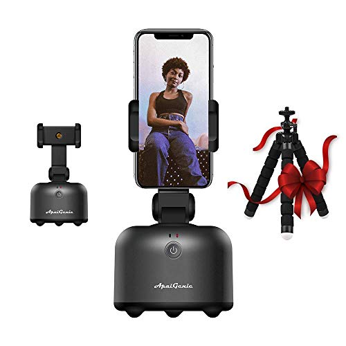 UPNEXT Apai Genie II Selfie Stick for iPhone Tripod Stand with Smart Tracking | AI Gimbal | Auto Tracking Phone Holder | Robot Cameraman (Black)