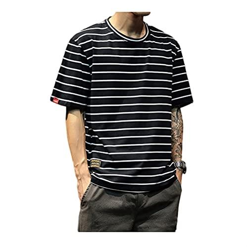 Shirt Hombres A Rayas Básica Cuello Redondo Hombres Manga Corta Verano Ajuste Regular Gran Tamaño Sport Casual Hombres Camiseta Classic Hombres Streetwear C-Black M
