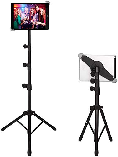 IPad Tripod Stand, Floor Tablet Tripod Mount, Height Adjustable 20 to 60 Inch with 360 Degree Rotating Holder for iPad Air,iPad Pro and More 9.5 to 14.5 Inch Tablets, Coming with Carrying Bag