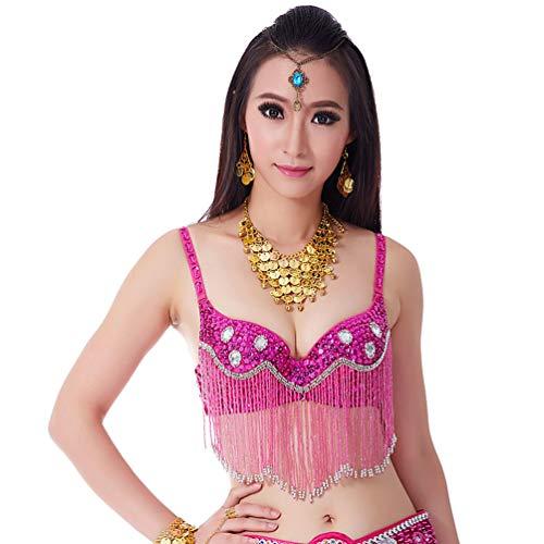 GladiolusA Gute Qualität Bauchtanz Kostüm Damen Bauchtanz BH Sexy Flamenco Kleid BH Profi Für Frauen Karneval Tanzen BH Rose 34/75C