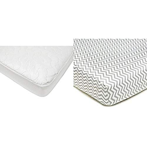 American Baby Company White Waterproof Fitted Crib and Toddler Protective Pad and CompanyPercale Fitted Crib Sheet