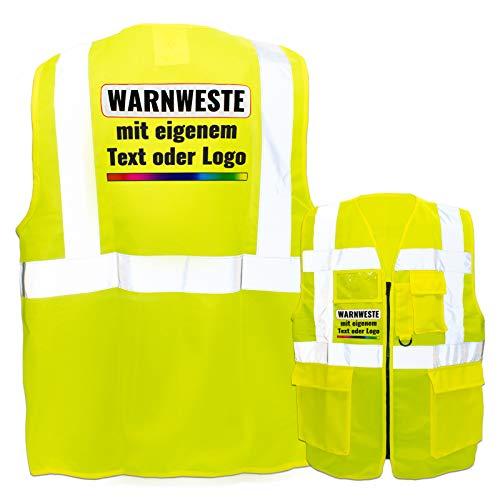 Warnweste mit Reißverschluss und Taschen * Druck auf Rücken + Front/Premium-Druck * Farbe & Größe: Gelb/Größe XL * Aufdruck selbst gestalten * Bedruckt mit Design Foto Text Logo