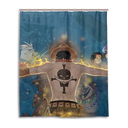 zhengdengshuibaihuodian Anime One Piece Ace Bad Duschvorhang Wasserdichtes Gewebe Duschvorhänge
