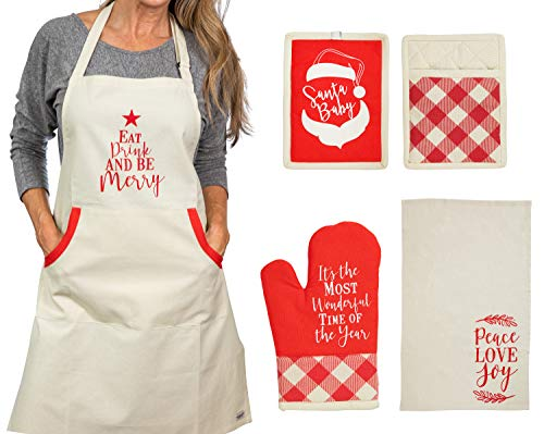 Christmas Apron With Pot Holder, Oven Mitt and Kitchen Towel, Perfect Holiday for Mother, Sister, Aunt, Mother In Law', Chrismas Kitchen Combo