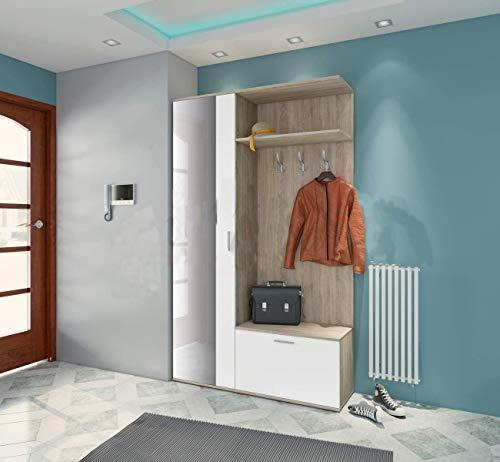 Mobile Ingresso Bianco E Rovere Chiaro Con Anta A Specchio Ganci Appendiabiti Ripiani E Scarpiera Armadio Entrata Di Casa II4006