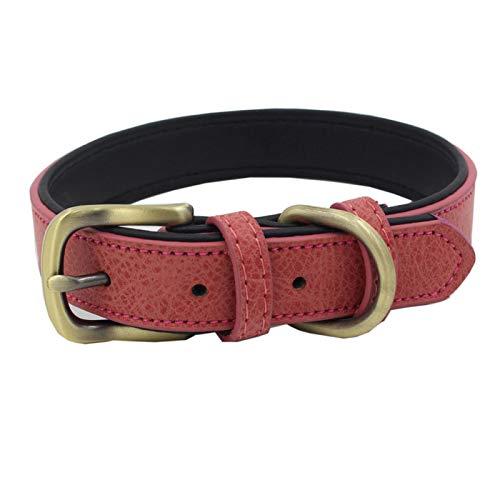 Collar de perro, Perro de Mascota Gatito Collar Ajustable Hebilla Suave Entrenamiento al Aire Libre Correa De Cuello Seguro - Rojo S