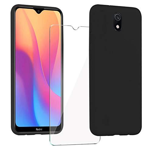 XinYue - Funda para Xiaomi Redmi 8A + Protector Pantalla, Carcasa de Silicona Líquida Gel Ultra Suave Funda con tapete de Microfibra Anti-Rasguño - Negro