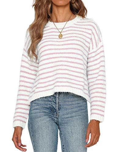 YOINS Pullover Damen Streifen Sweatshirt Oberteile Strickpullover Farbblock Sweater V-Ausschnitt Jumper Langarmshirts Tops Hemd Shirt Pink-01 XL