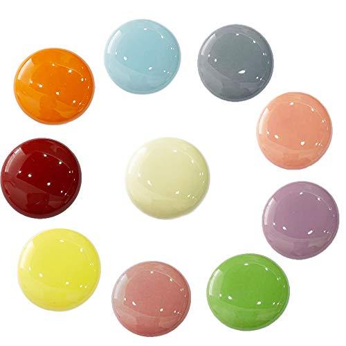 ShipeeKin 10x Bunte Schrankknöpfe Türknöpfe Mehrfarbig Schubladen Ziehgriffe 32mm aus Keramik für Kinder Schalfzimmer(Elfenbein, Rot, Blau, Gelb, Grün, Pink, Pale Pinkisch, Violett, Orange, Grau)