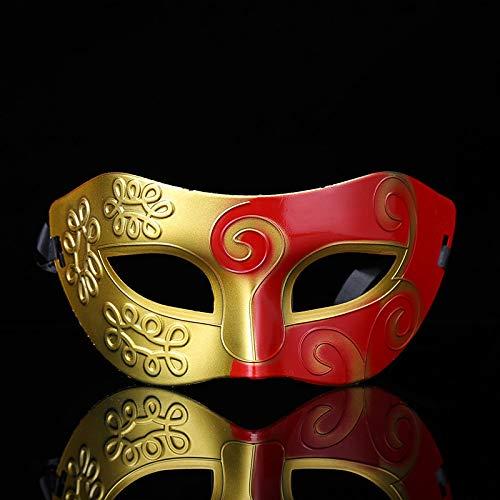 Herren- und Kinderhalbgesichtsbrillen schwarz-weisser Gentleman Jazzkämpfer tanzen Ballmaske Gold + roter Code