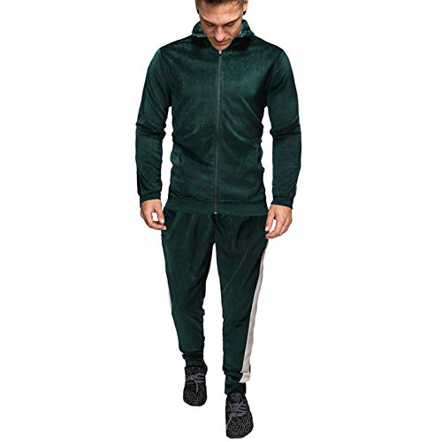 JX-PEP Chándal de terciopelo de manga larga para hombre, conjunto de 2 piezas, con cremallera completa, color verde, XL