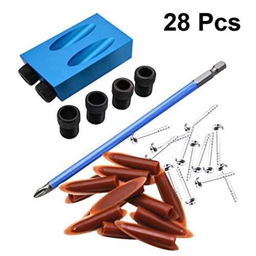 DOITOOL 28 piezas Kit de plantilla de orificio de bolsillo guías de taladro de plantilla de espiga accesorios de carpintería con localizador de orificio oblicuo de ángulo de 15 grados (azul)