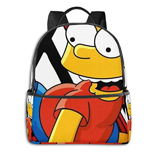 41ou2ftiPWL - Cartoon Simpsons - Mochila para estudiantes, unisex, diseño de dibujos animados, 14,5 x 30,5 x 12,7 cm