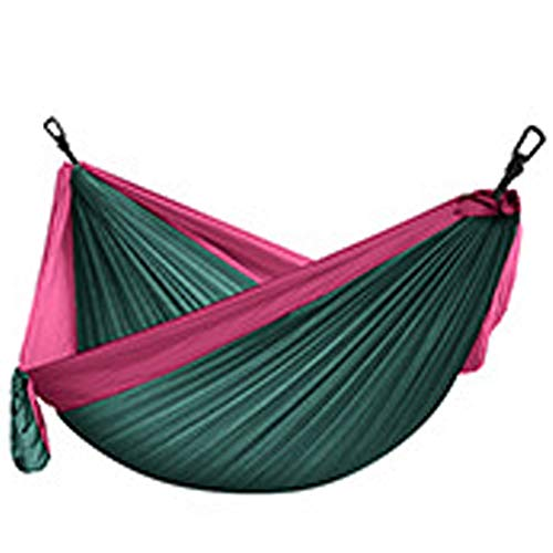 Hammock Camping, Lightweight Portable Hammocks for Outdoor Hiking Travel Backpacking Beach Yard- Strongest Parachute Nylon Hammock Swing - Support 400lbs Ropes Carabineers,Dark Green Series,C