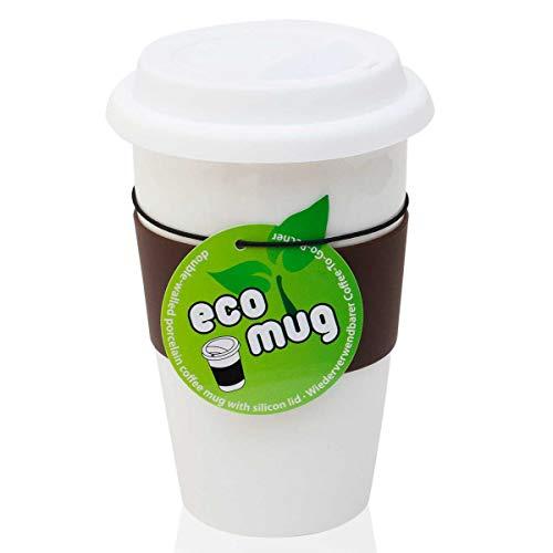 Keramik Thermo-Becher: Doppelwandiger Kaffee-Becher - Eco Mug Isobecher Coffee-to-Go mit Deckel doppelwandig