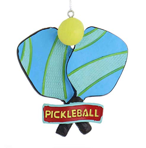 Midwest Bright Blue Green Pickle Ball Racket Ball 3.75 inch Resin Decorative Christmas Ornament