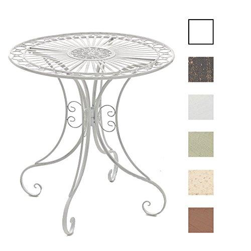CLP Mesa de Jardín Hari | Mesa Auxiliar de Exterior en Estilo Rústico | Mesa de Terraza Redonda Diámetro: 70 cm | Color: Antik weiß