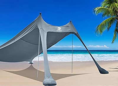 BOTINDO Family Beach Tent Sunshade, Canopy Pop Up Sun Shelter 2 Pole with Carry Bag for Beach, Fishing, Backyard, Camping and Outdoors