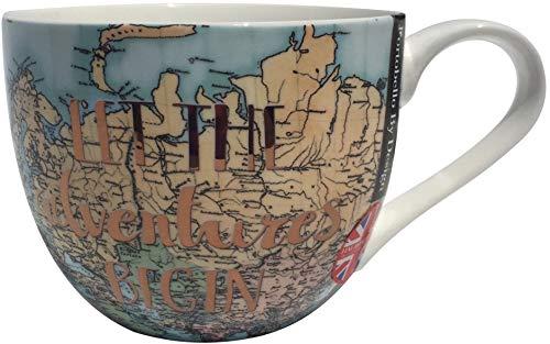 Portobello by Design'Let the Adventure Begin' Oversize Bone China Coffee Tea Latte Cup Mug with World Map