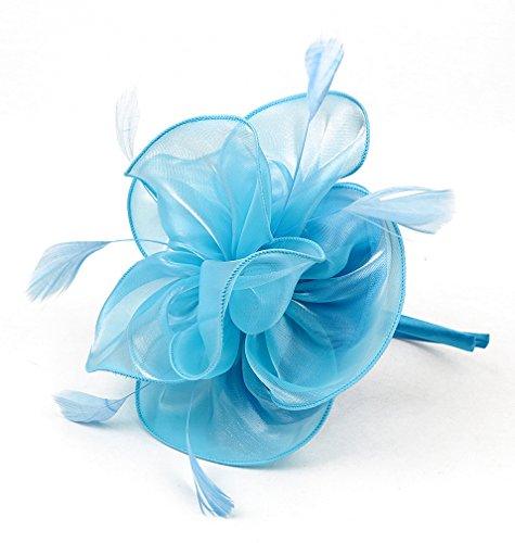EEVASS Femme élégant fleur plumes bandeau Fascinator Cocktail (# Bleu ciel)