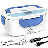 TRAVELISIMO Electric Lunch Box 2 in 1 - Portable Food Warmer for Car, Truck, Home and Work 12V & 110V 40W - Includes 2 Compartments, Removable Stainless Steel Food Heater Container (Blue)