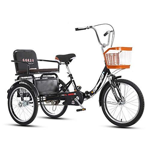 ZFF Triciclos para Adultos 20 Pulgadas Bicicletas Tres Ruedas con Cesta De La Compra Y Asiento Trasero Horquilla De Suspensión por Personas Mayores Mujeres Hombres (Color : Black)