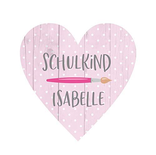 KT-Schmuckdesign Deko Herz aus Holz in rosa gepunktet mit Wunschtext, Pinsel-Motiv und Schriftzug Schulkind, Kinder Wandbild als Wand-Dekoration zur Einschulung, 14 x 14 cm