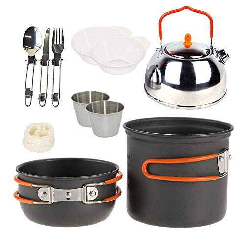 XHLLX Outdoor Cooking Set Non Aluminium Camping Cookware Mess Kit Pot Pan Kettle Cups Bowl Spork Cooking Equipment Portable Backpacking With Mesh Bag Picnic Cooking Tool