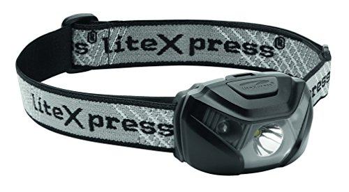 LiteXpress LX0HLB3AAA Lampe frontale LED 230 Lumière gris-noir, Aluminium, 6.5 x 4.4 x 3.5 cm