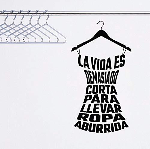 56X30Cm Calcomanías de ropa española Vinilo Etiqueta de la pared Sala Guardarropa Tienda de moda Armario Decoración