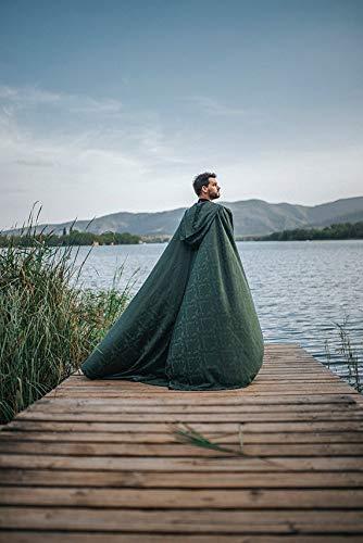 Green Fantasy Medieval cloak damasc long wedding sorcerer costume Celtic Woodland
