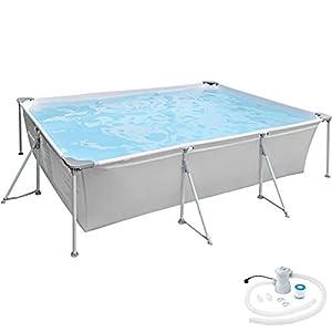TecTake 800932 Piscina Desmontable Rectangular, Swimming Pool, Tejido de PVC, Construcción Robusta, Filtro Depurador, 375 x 282 x 70 cm