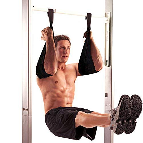Taeku Armschlaufen Bauchtraining 1 Paar Dauerhaft Ab Straps Slings Klimmzugstange Bauchtrainer Fitness bis 200 kg Belastbar für Tür Reck und Turnstange (Schwarz)