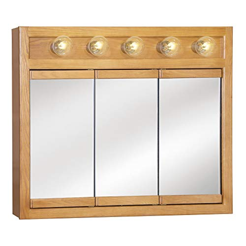 "Design House 530618 Richland Lighted Mirrored Medicine Cabinet, Nutmeg Oak, 36"""