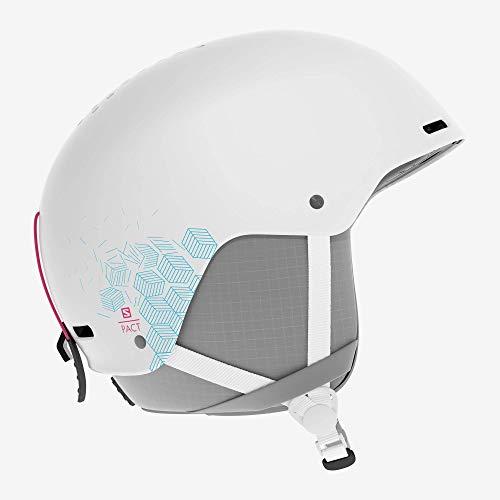 Casque de ski et snowboard pour enfant Salomon, Coque ABS, Mousse intérieure EPS 4D, Taille JRS, Tour de tête 53-56 cm, Pact, Blanc, L40572100