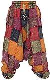 Little Kathmandu pantalones diseño holgado hippie de algodón para hombre Aladín multicolor Thick Patch Harem L