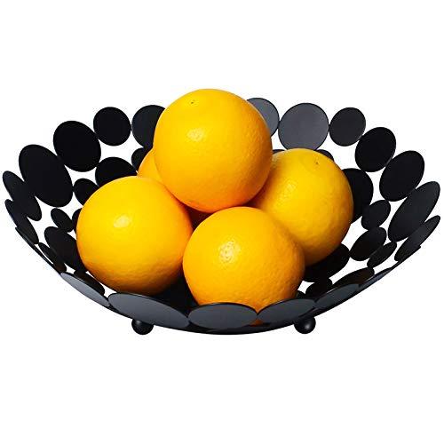 Fruit Bowl Modern Fruit Basket for Kitchen Counter, Ganamoda Large Fruit Holder Stand for Bread, Vegetable, Candy and Household Storage, Black