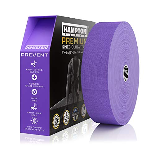 (135 Feet) Bulk Kinesiology Tape Waterproof Roll Sports Therapy Support for Knee, Muscle, Wrist, Shoulder, Back / Original Uncut Premium Therapeutic Elastic & Hypoallergenic Cotton - (Purple)