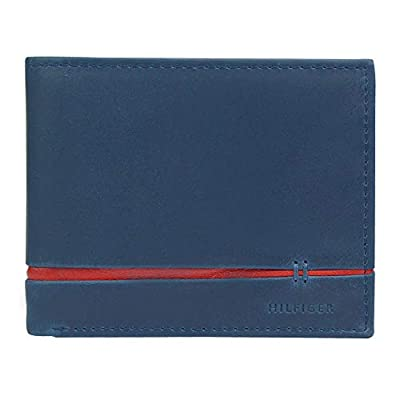 Tommy Hilfiger Men's Slim Thin Smart Multipurpose Leather Bifold Passcase, Navy/Red, One Size