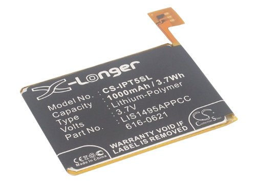 CS-IPT5SL Batería 1000mAh Compatible con [Apple] iPod Touch 5, iPod Touch 5th Generation sustituye 616-0621, para A1421, para LIS1495APPCC