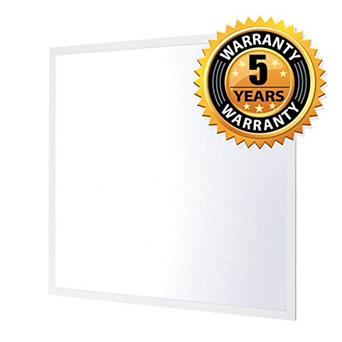 Panel LED de techo de 60 x 60 cm, lámpara cuadrada de 40 W, 4000 K, blanco neutro, cable de alimentación de 1,5 m, 3600 lm, color blanco, 50.000 horas