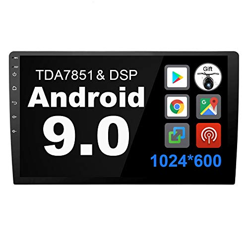 Eunavi 2 Din 10.1 '' Quad Core in Dash Double Din DSP TDA7851 Universal Android 9.0 Car Radio GPS Navigation with Bluetooth 2G RAM + 16G ROM, Support 3G WiFi Bluetooth SWC NO DVD