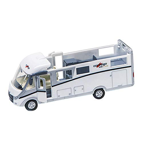 Kids Globe Carthago camper (Spielzeug Wohnmobil, Campingfahrzeug, Wohnfahrzeug) 16 cm - mit Licht, Rückzugmotor, Innenbeleuchtung und abnehmbarem Dach, inkl. Batterien - 510008