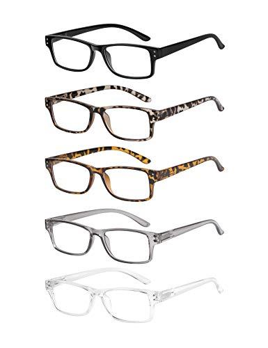 CCVOO 5 Pack Reading Glasses, Blue Light Blocking Readers Anti Glare Filter UV Ray Fashion Computer Eyeglasses For Women/Men