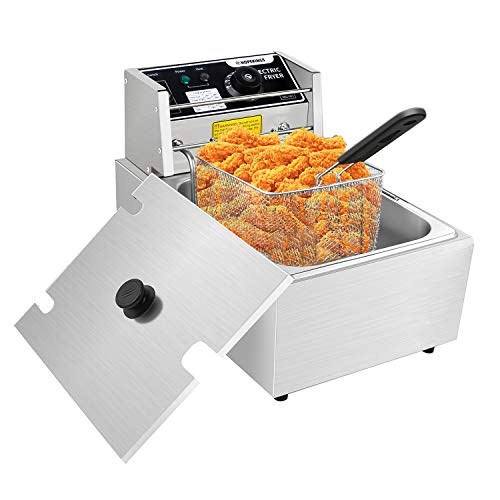 Commercial Deep Fryers with Basket and Temperature Control, Electric Stainless Steel Countertop Deep Fryer for Home Restaurant French Fries Fish Turkey (US STOCK) (Silver, 6L)